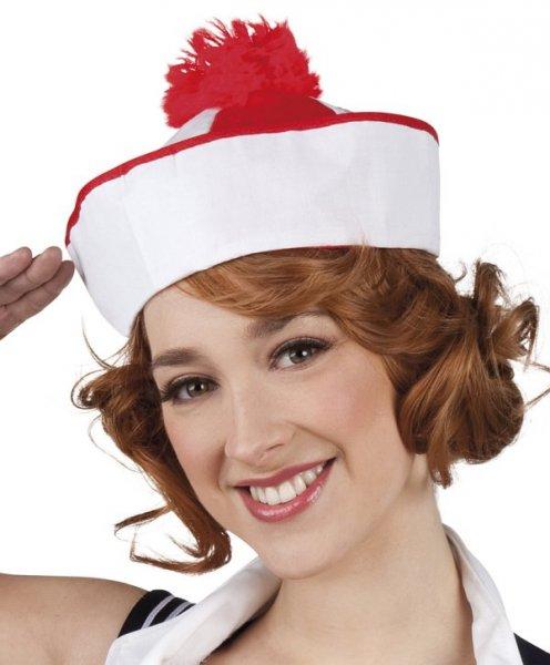 Matrosen Mütze Matrose Matrosin Faschingsmütze Hut rot