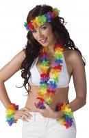 buntes Hawaii Set 3teilig bunte Hawai Kette Hula Blumenkette