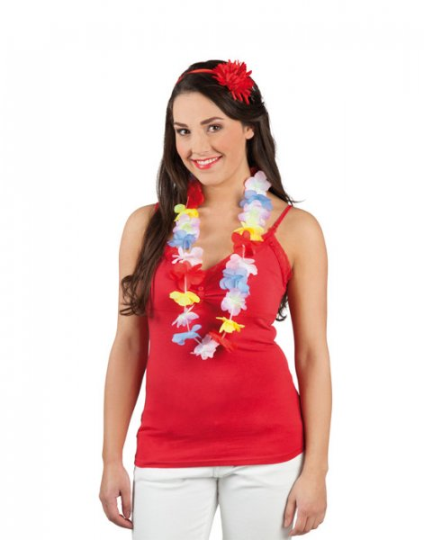 Hawaiikette Hawaii Kette Blumenkette bunt party aloha pastellfar