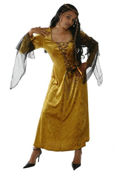 Damen Halloweenkostüm Hexe Hexenkleid goldgelb
