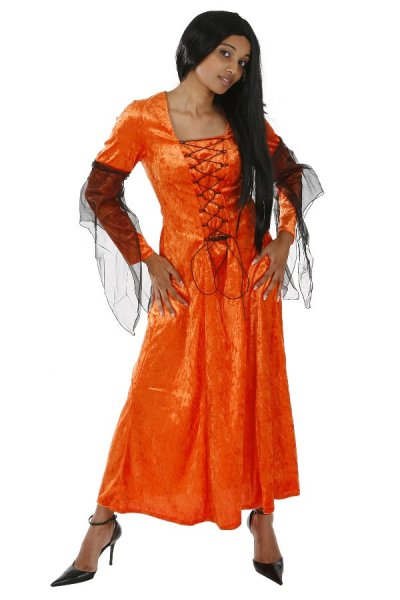 Halloweenkostüm Damenkleid orange Hexe Kostüm Halloween