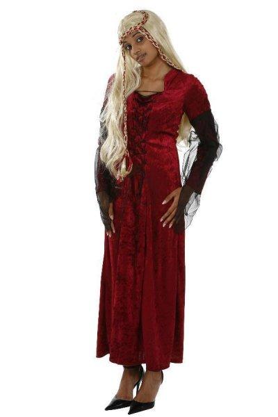Hexenkostüm rot/schwarz Halloween