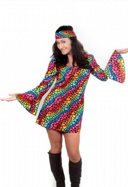 Hippie Kostüm für Damen Retro 70er Jahre Kleid