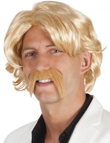 70er Jahre Herrenperücke mit Bart blond