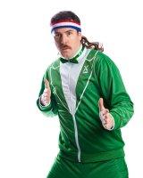 80er Jahre Partyanzug Sportanzug grün