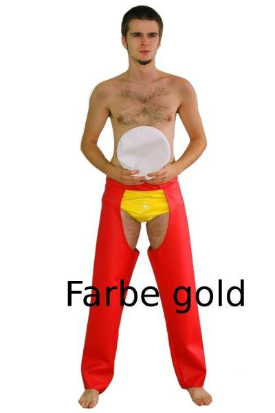 Goldfarbene Chaps Hose JGA Verkleidung Junggesellenabschied