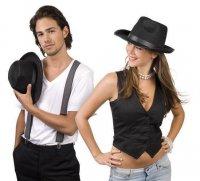 schwarzer Hut Herrenhut schwarz Gangster Poker Fasching 59cm