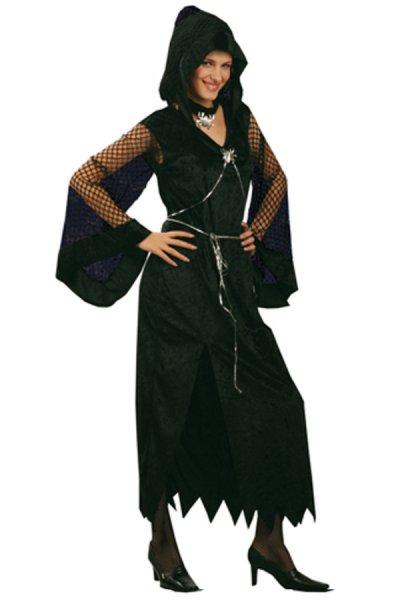schwarzes Gothic Kleid Damen Kostüm schwarz Halloween Outfit