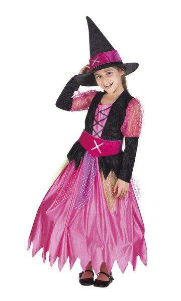 Hexen Kinderkostüm pink Halloween (7-9 Jahre)