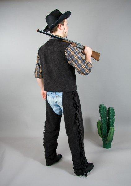 Cowboy Überhosen schwarz Cowboyhose Western Kostüm Hose