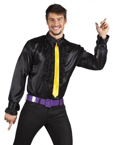 Rüschenhemd Schlagerhemd schwarz