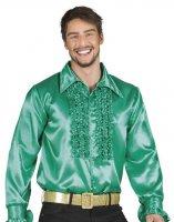 Rüschenhemd Schlagerhemd dunkelgrün