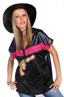 Damen Oberteil Western schwarz mit pink Cowgirl