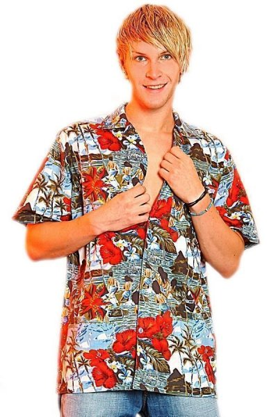 Hawaiihemd bunt Herrenhemd Beachparty