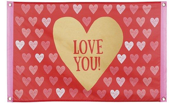 Herz Fahne Valentinstag Deko