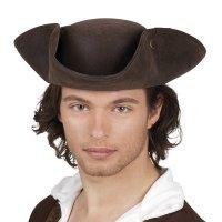 Piratenhut braun Kunstleder