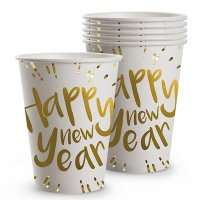 Silvester Pappbecher Happy new Year 6er Set