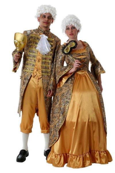 Barock Rokoko Kleid Kostümfest Theater goldenes Kostüm