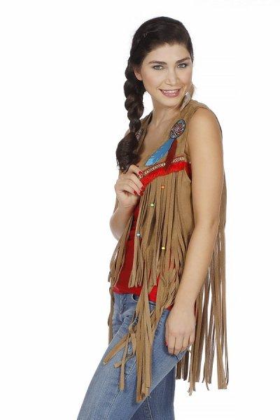 Indianer Weste mit Fransen Damenkostüm