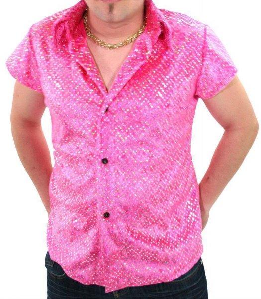 Discohemd pink Schlagerhemd 70er 80er Jahre Mottoparty