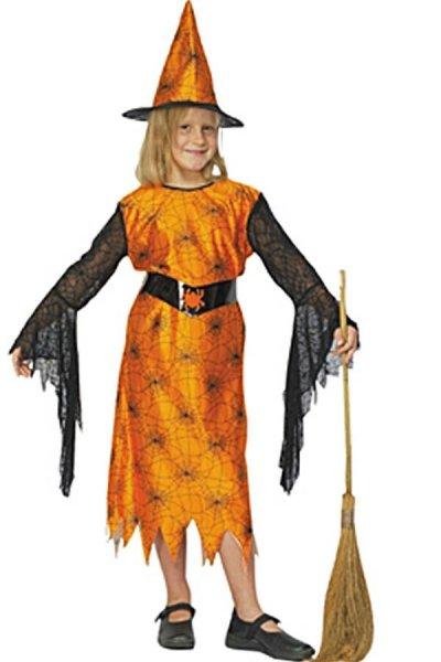 Kinder Spinnenhexe orange schwarz Hexe Halloween neu