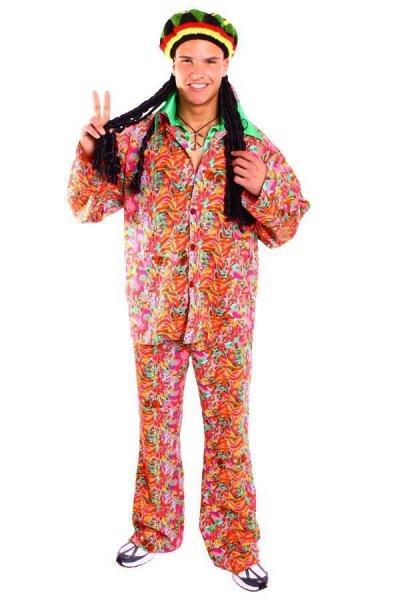 Lazy Hippie Kostüm aus Hose und Hemd 70er Mottoparty