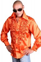 Schlagerhemd orange Retro Hemd 70er 80er Jahre Disco Look