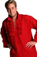 Schnürhemd rot rotes hemd Herren Piratenhemd Pirat Fete