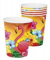 6 Pappbecher Hawaii Flamingo Beachparty Strandparty...