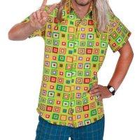 grünes Retro Vintage Hemd Hippiehemden bunte Quadrate