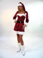 Sexy Damenkostüm Nikola Weihnachtskleid mit Mütze