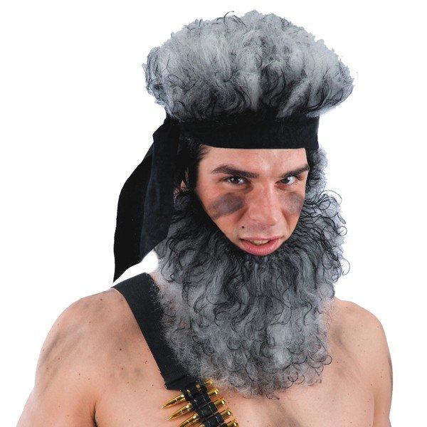 Terrorist Perücke und Vollbart grau schwarz