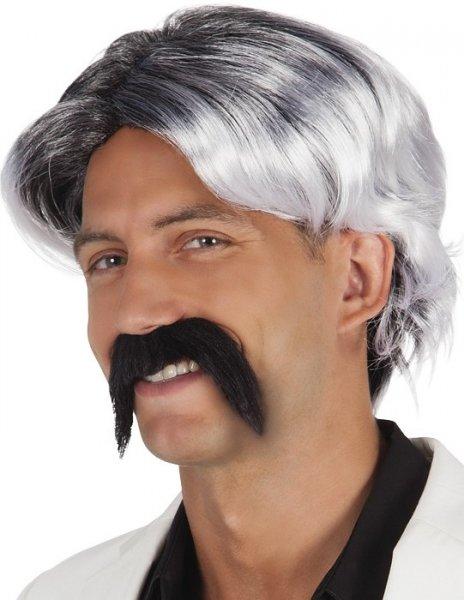 Perücke grau mit Schnurrbart schwarz Fasching Karneval Fastnacht