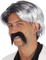 Perücke grau mit Schnurrbart schwarz Fasching...
