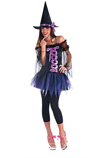 Hexenkostüm Hexe Damenkostüm Halloween Party schwarz lila Gothic
