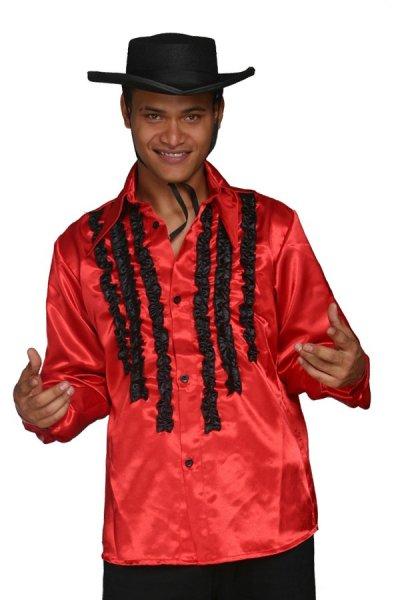 rotes Hemd mit Rüschen Rüschenhemd Herren Fasching Fete
