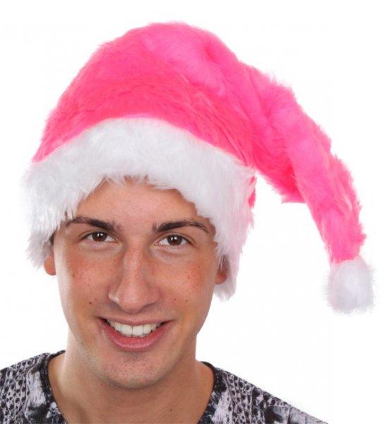 Weihnachtsmann Mütze pink Nikolausmütze Plüsch