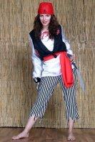 Piraten Kostüm Damen Piratin Freibeuterin Hose Oberteil