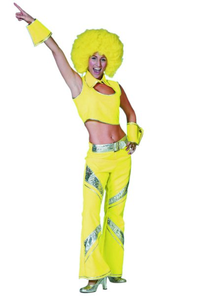 Disco Outfit neon gelb 70er 80er Jahre Mottoparty